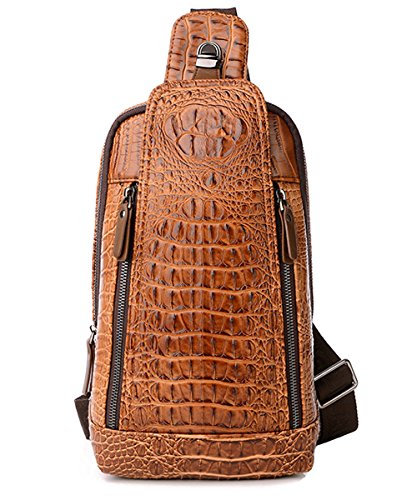 FiveloveTwo Mens Sling Bags Crocodile Leather Multipurpose Outdoor Shoulder Crossbody Chest Bag Satchels Hiking School Daypack Brown