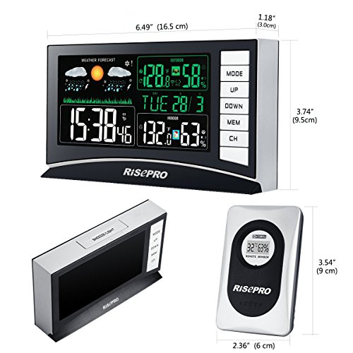 RISEPRO Weather Station, Wireless Weather Station with 3 Sensors in/Out Temperature and Humidity Alarm Clock Calendar Weather Forecaster with Color Led Display RP-WS2003 by RISEPRO (Image #2)
