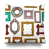 KJONG Cute Of A Colorful Different Pictures Frames Hand-Drawn Zippered Pillow Cover,20 x 20 inch Square Decorative Throw Pillow Case Fashion Style Cushion Covers(Two Sides Print)