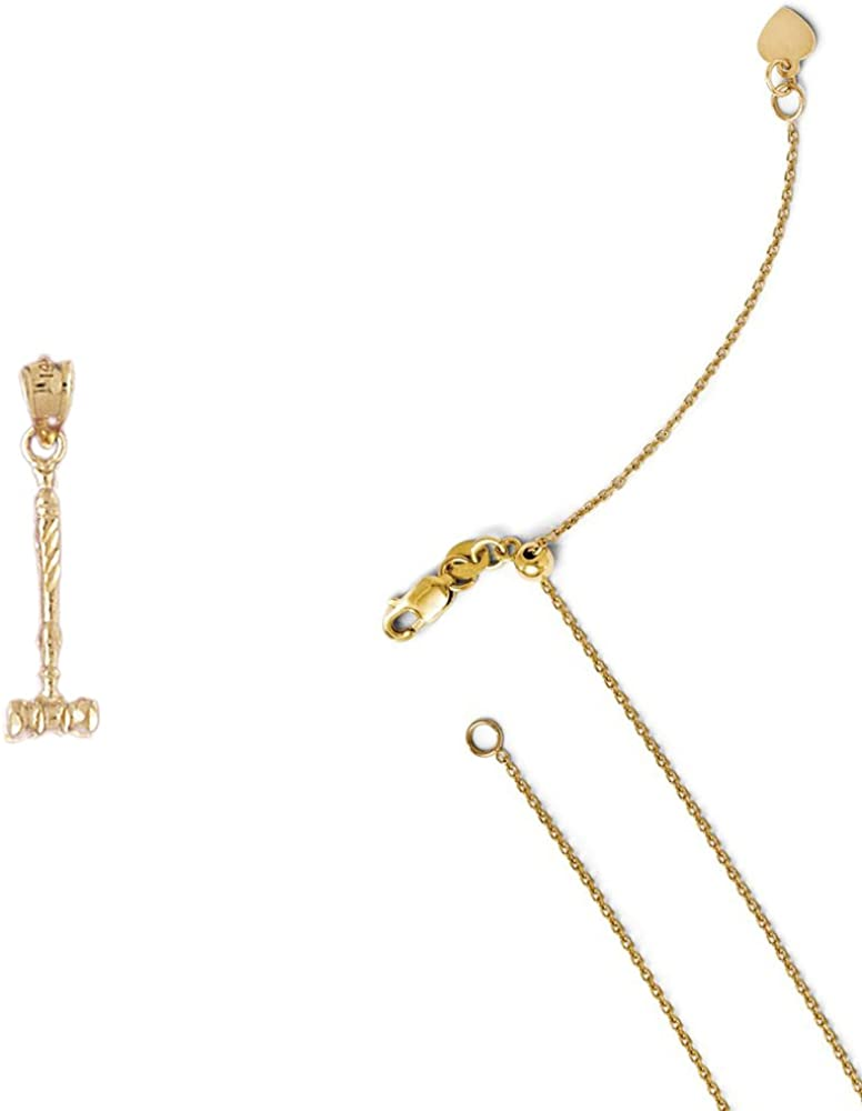 14K Yellow Gold Gavel Pendant on an Adjustable 14K Yellow Gold Chain Necklace