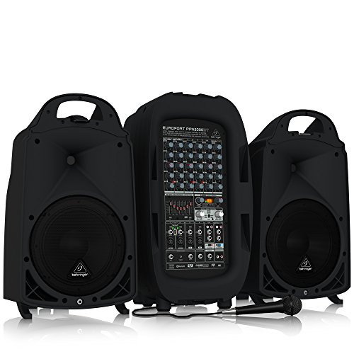 BEHRINGER, 8 PPA2000BT Ultra-Compact 2000-Watt 8-Channel Portable Pa System with Bluetooth Wireless Technology Black (Best Portable Pa System)