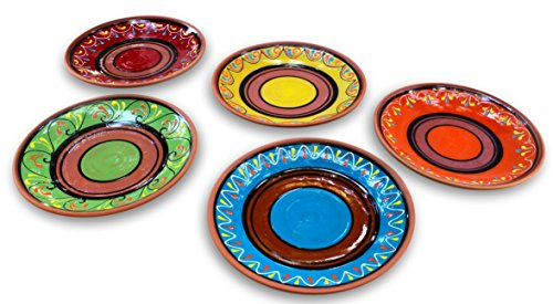 Terracotta Small Dinner Plates Set of 5 (European Size) - Hand Painted From - Terra Mexican Cotta