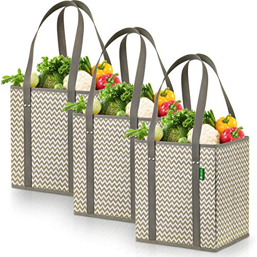 Reusable Grocery Shopping Box Bags (3 Pack - Chevron). Large, Premium Quality Heavy Duty Tote Bag Set with Extra Long Handles & Reinforced Bottom. Foldable, Collapsible, Durable and Eco Friendly