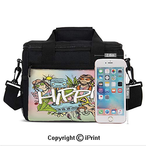 Insulated Lunch Box Hippie Life with Man and Woman Peace Symbol No War Liberal Boho Sketch Illustration Print Portable Lunch Bag Reusable Carry Boxes Cooler Tote Bag for School Work Office Picnic Gym
