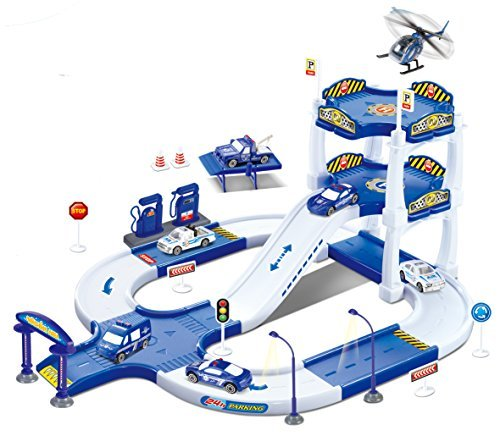 My First Racing Parking Garage Diecast Police City Station Playset by Liberty Imports