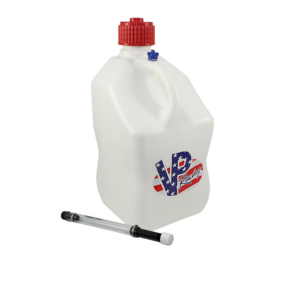 VP 5 Gallon Square White Patriotic Racing Utility Jug with Deluxe Filler Hose by VP Racing