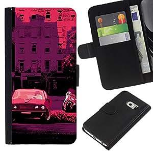 For Samsung Galaxy S6 EDGE Case , Retro Car Bike Italy France Pink - la tarjeta de Crédito Slots PU Funda de cuero Monedero caso cubierta de piel