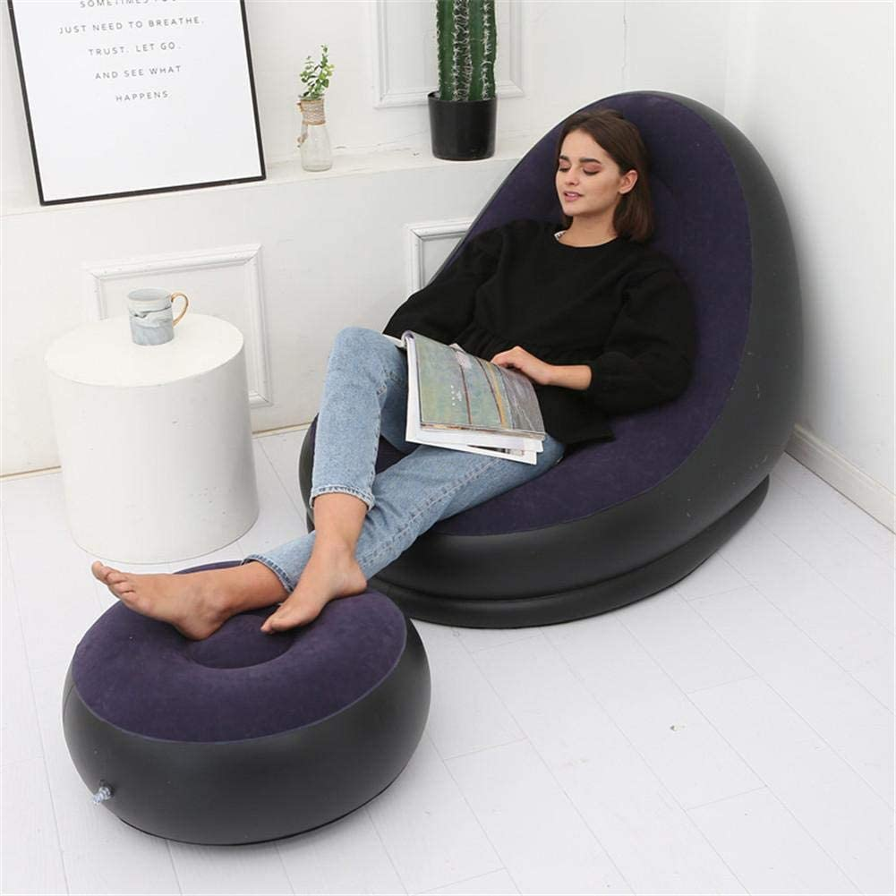 Enjoyyouselves Inflatable Air Mattress Lazy Sofa Deck Chair Comfortable Legstool Rest Single Beanbag PVC Soft And Comfortable Suitable For Home