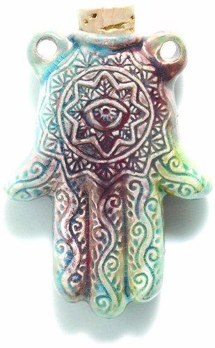 Shipwreck Beads Peruvian Hand Crafted Ceramic Raku Glazed Hamsa Hand Pendant, 35 by 48mm