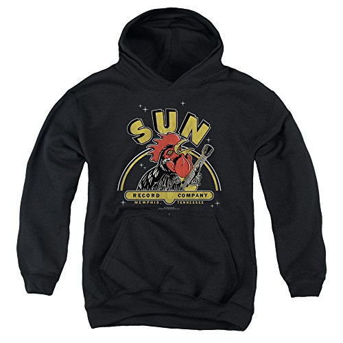 Sun Rocking Rooster Unisex Youth Pull-Over Hoodie for Boys and Girls, Medium Black -
