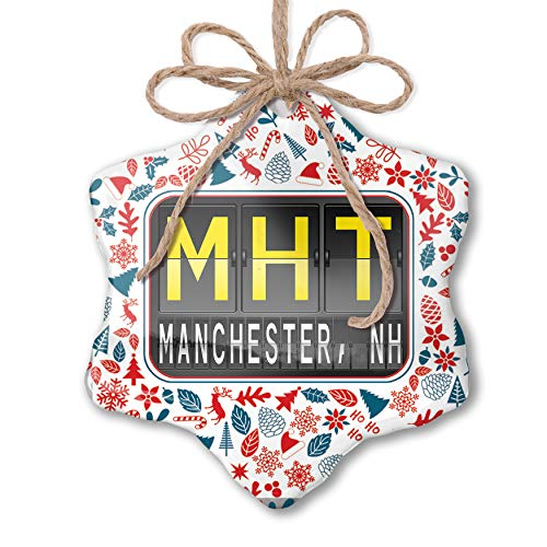 NEONBLOND Christmas Ornament MHT Airport Code for Manchester, NH Red White Blue Xmas (Nh Manchester Christmas)