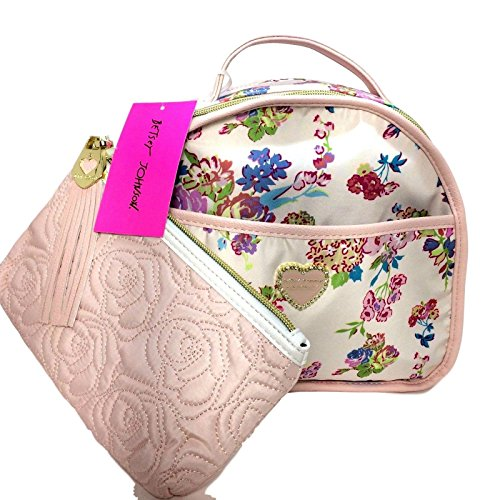 Betsey Johnson 2 Pc Train Case Cosmetic Bag Floral Blush (Betsey Johnson Lily)