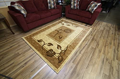Classic Brown Cream and Beige Flower Design Rug Hand Carved Machine Made Area Rug Perfect Carpet to Enhance Any Home Decor 8 x 11 FT