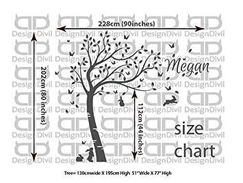 Design Divils Full size coniglietti Beautiful Tree nursery Room Wall Decal Sticker DD007 ddtt199012111