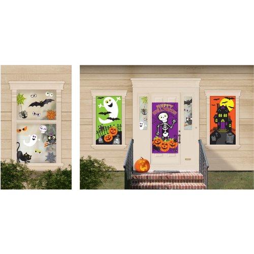 Amscan Family Friendly Halloween Trick or Treat Mega Value Party Scene Setter Decorating Kit, Multicolor, 65