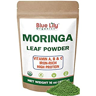 Blue Lily Organics Organic Moringa Oleifera Leaf Powder 1 Pound (16 Oz) 100% Pure Certified Organic - Natural Energy & Metabolism Boost - Non-GMO, Vegan, Green Raw Superfood