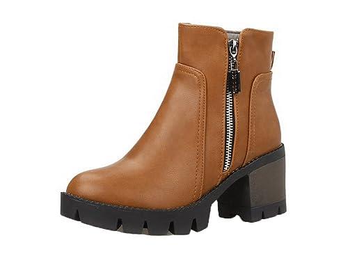 b965bd5be1c AgeeMi Shoes Mujer Cremallera Tacón Medio Puntera Cerrada Cremallera Botas:  Amazon.es: Zapatos y complementos