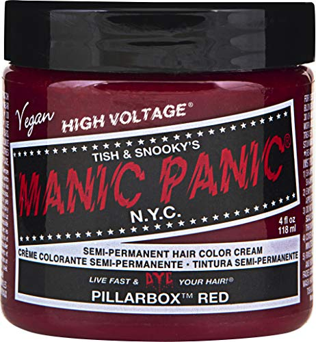Manic Panic Pillarbox Red Hair Color Cream - Classic High Voltage - Semi-Permanent Hair Dye - Vivid, Red Shade - For Dark, Light Hair - Vegan, PPD & Ammonia-Free - Ready-to-Use, No-Mix Coloring