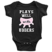 Plays Well With Udders Funny Cow Baby Onesie or Infant T-Shirt (NB, Black Onesie)