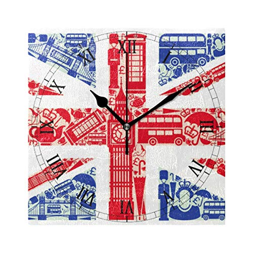 WIHVE Decorative Wall Clock Union Jack 7.87 Inch Square Numeral Clock Silent Non Ticking for Home Office School