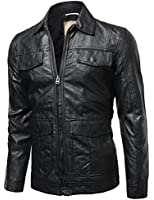 Youstar Men's Refined Faux Leather Padding Quilted Lining Jacket