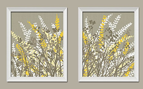 2 Gray-Taupe, White and Yellow Floral Meadow Print Set; Two 11x14in White Framed Prints; Ready to hang!