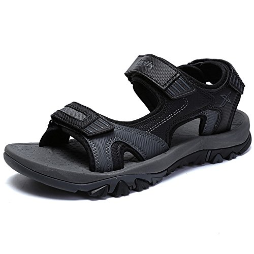 Hattie Men's Open Toe Hook Loop Sandals Summer Outdoor Sport Trekking Hiking Shoes Black pGYKrvvt
