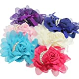 Baby Girl Infant Pearl Rose Flower Hair Band Hairband Headdress.
