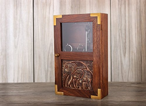 Handmade Decorative Wooden Wall Mounted Key Cabinet with Glass Panel Door & Elephant Carvings