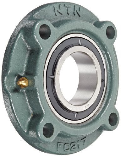 NTN UKFC217D1 Light Duty Piloted Flange Bearing, 4 Bolts, Adapter Mounted, Regreasable, Contact and Flinger Seals, Cast Iron, 75mm Bore, 8-3/16
