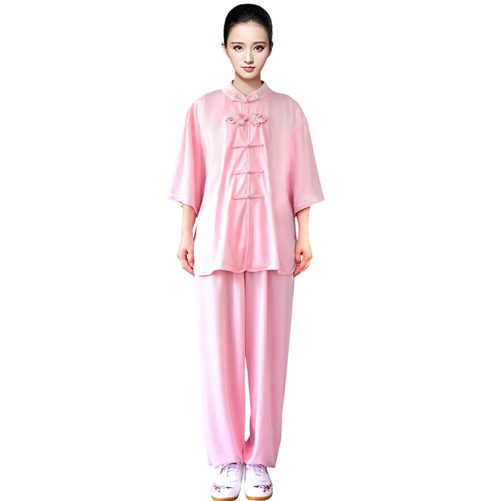 ZooBoo Women's Chinese Traditional Tai Chi Uniform Short Sleeves Morning Exercises Kung Fu Clothing (XS, Light Pink) by ZooBoo
