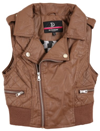 dollhouse Junior's Leather Look Quilted Sides Vest with Ribbed Trim - Mocca Brown - Vest Quilted Avenue