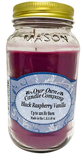 Our Own Candle Company Black Raspberry Vanilla Scented Mason Jar Candle by, 18 Ounce by Our Own Candle Company