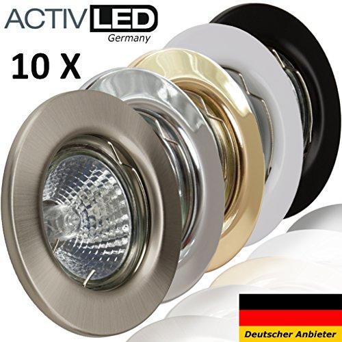 10x Deckeneinbaustrahler Deckeneinbauleuchte Einbaurahmen Einbaustrahler Einbauleuchte Einbauspot Einbauring Metall LED Halogen GU10 MR16
