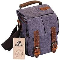Camera Bag Vintage Canvas Shoulder Leather Trim Shockproof Messenger Bag for SLR/DSLR (Grey)