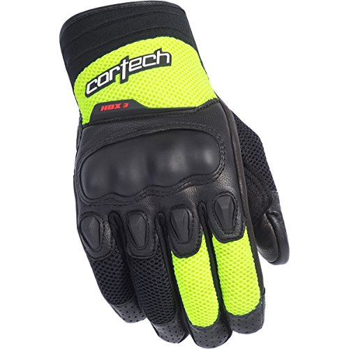 (Cortech HDX 3 Adult Street Bike Motorcycle Gloves - Black/Hi-Viz/Large)