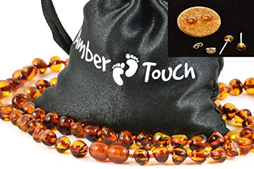 Baltic Amber Necklace for Adult + Amber Earrings - Headache, Migraine, Sinus, Arthritis, Carpal Tunnel, Nursing Pain Relief (17.7 inches (45 cm), Cognac) Cognac Baltic Amber Earrings