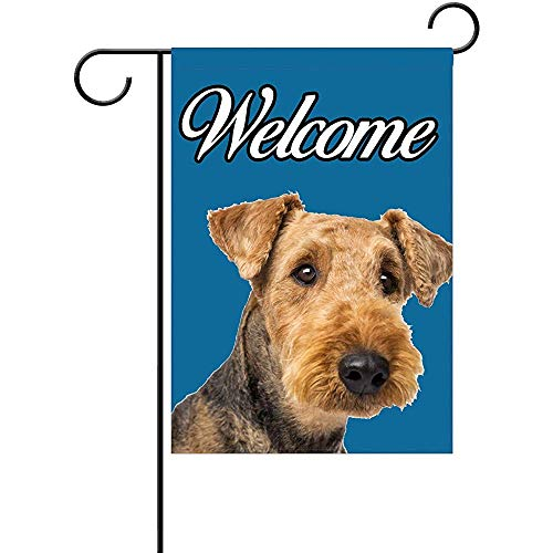 Cvhtr3m Airedale Terrier Welcome Garden Flag 100% Polyester Home Decor Flag (12 x 18 inch)