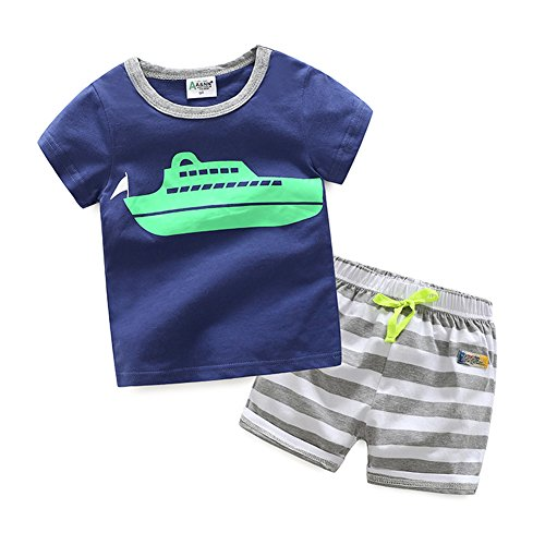 Evelin LEE Baby Boy Cotton Short Sleeve Shirt and Shorts 2pcs Set Clothes (18-24 months, Blue Boat)