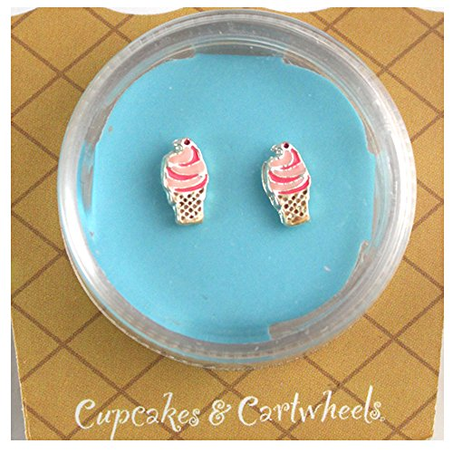 Two's Company Earrings Pink Ice Cream Cone (Icecream Cone Earrings compare prices)