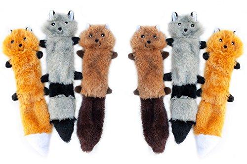 ZippyPaws Skinny Peltz No Stuffing Squeaky Plush Dog Toy, Small (6 Pack)