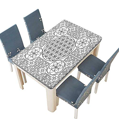 PINAFORE Indoor/Outdoor Polyester Tablecloth Interlace Life of Seed s with ple Spiral Lines Black White Wedding Restaurant Party Decoration W69 x L108 INCH (Elastic Edge)