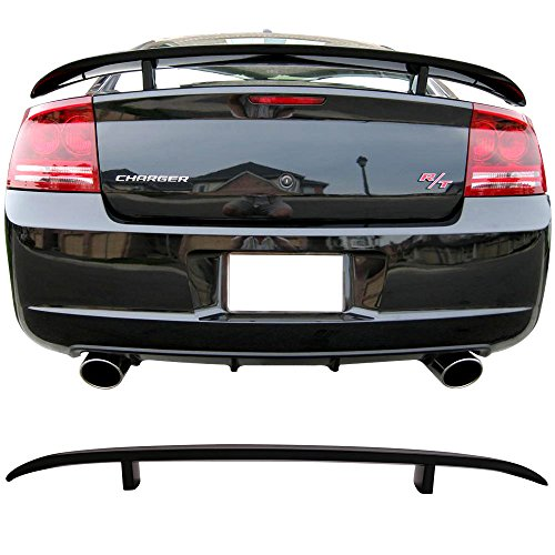 Pre-Painted Trunk Spoiler Fits 2006-2010 Dodge Charger | Painted #PXR Brilliant Black Pearl Rear Spoiler Wing other color available by IKON MOTORSPORTS | 2007 2008 2009