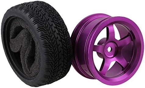 Mxfans 4個入れ ブラック ハイグリップラバータイヤ & パープル アルミ合金 5スポーク ホイールリム RC 1:10オンロードレーシングカーのため