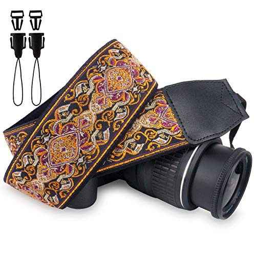 Wolven Vintage Jacquard Weave Camera Neck Shoulder Strap Belt Compatible for All DSLR/SLR/Digital Camera (DC)/Instant Camera/Polaroid etc (Purple Golden Floral)