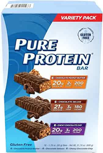 Pure Protein High Protein Bar Variety Pack 1.76-Ounce Bar (Pack of 18), Includes: Chocolate Peanut Butter, Chewy Chocolate Chip & Chocolate Deluxe Bars