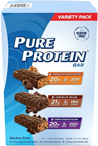 Pure Protein High Protein Bar Variety Pack 1.76-Ounce Bar (Pack of 18), Includes: Chocolate Peanut Butter, Chewy Chocolate Chip & Chocolate Deluxe (Protein Snack Bar)