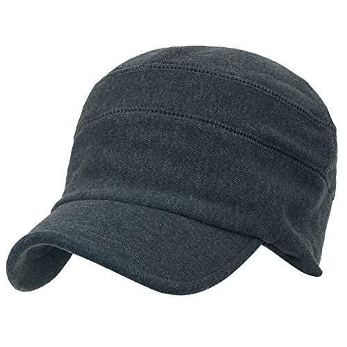 ililily Solid Color Cotton Casual Flex Fit Slouchy Work Cap Soft Hat Dark Grey