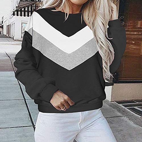 Sport Patchwork Femmes Chemises Manche SANFASHION Mode Sweatshirt Blouse Longue Casual Chic Noir Haut Pull Soldes Uq8aFpI