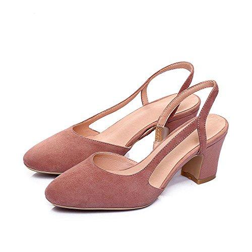 GJDE Sandalias de Verano Laterales de Aire Baotou Sandalias y Zapatillas de la Boca Baja de los Zapatos de Tacón alto Gruesos Pink